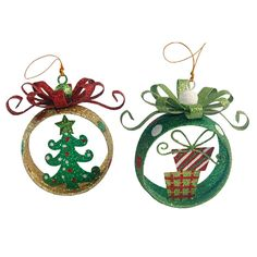 Assorted Glitter Ring Ornament with Gift Tree Ornament  (sold separately)