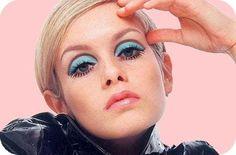 60's makeup-bright eyeshadow and lots of mascara