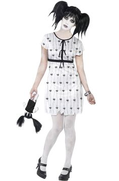 There's nothing creepier than a mental hospital. Well, except for maybe encountering one of the pyshoctic mental patients. This adult Abby Normal costume will have your friends terrified. The costume includes a white dress, wristband, and stuffed doll.