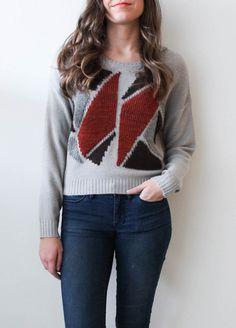 Grey Geo Print Crop Sweater