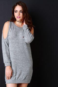 Brushed Marl Knit Cold Shoulder Sweater Dress