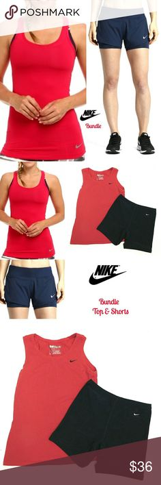 ?? BUNDLE?? NIKE RED FIT DRY TANK & NAVY SHORTS ??BUNDLE?? NIKE RED FIT DRY TANK TOP & NAVY FIT SHORTS Pre-Loved/  EUC SZ M RED TOP SZ M RN# 58323 CA # 06553 80% Cotton  40% Polyester Straight TANK Top - NO Racerback BLUE SHORTS SZ M RN# 56323 CA# 06553 80% Cotton  40% Polyester * Back Zipper Pocket Pls See All Pics. Ask ? If Needed Nike Tops Tank Tops