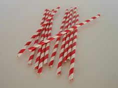 Red and White Striped Vintage Straws Qty 75 by ASweetCelebration, $10.50