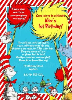 dr seuss birthday party ideas to celebrate baby's first year, party invitations