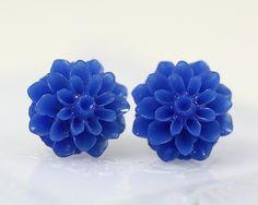 Dark Blue Chrysanthemum Ear Posts, Bridal Jewelry, Bridesmaids