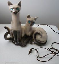 Vintage Lane & Company Mid Century 2 Siamese Cats TV Light Lamp VGC Estate Find
