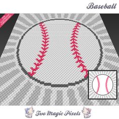 Baseball crochet blanket pattern; c2c, knitting, cross stitch graph; pdf download; no written counts or row-by-row instructions by TwoMagicPixels, $2.84 USD