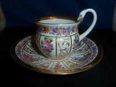 Meissen Swan Handle HP Floral Gild Tea Cup Saucer