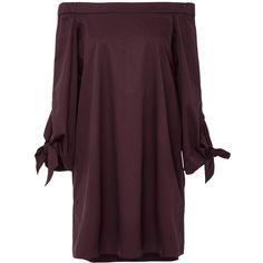 Tibi Off the Shoulder Mini Dress ($345) ❤ liked on Polyvore featuring dresses, burgundy, short burgundy dress, sleeved dresses, tie dress, short sleeve dress and off shoulder dress