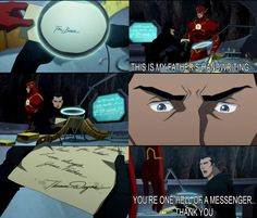 """This is my father's handwriting..."" ""You're one hell of a messenger..Thank you."" Bruce Wayne to Barry Allen in Justice League: The Flashpoint Paradox"