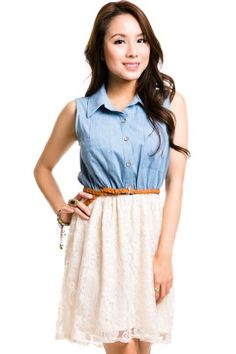 Chambray and Lace Belted Dress, Large Eyeshadow,http://www.amazon.com/dp/B00EFGI39A/ref=cm_sw_r_pi_dp_0tlmsb16GXY5T60S
