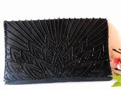 Black Beaded Evening Bag Vintage Beaded by LittleBitsofGlamour, $35.00