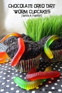 Chocolate Oreo Dirt Worm Cupcakes...with a twist!