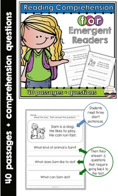 Reading comprehension for emergent readers: This is a set of 40 passages designed to help students sharpen their reading comprehension and writing skills. $