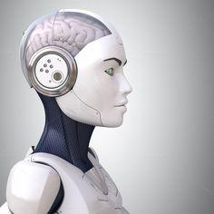 Robot's head in profile by iLexx on @creativemarket