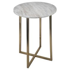 Circular Accent Table Brown/Marble/Gold - Threshold™ : Target