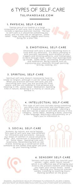 Did you know that there are different types of self-care? Wonder which one you're needing more of? Learning about each type can help you better understand you and your needs. Click through for 6 different types and some ideas for practicing each one. Bring on the self-care! #selfcare #mentalhealth #wellness #healthylifestyle #selflove #anxiety #overwhelm #stress #stressrelief