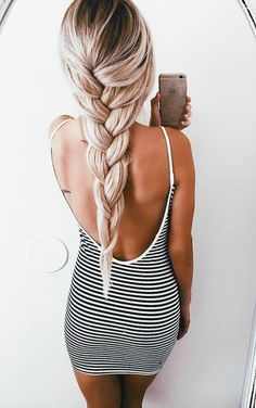 ♡Pinterest♡ The hair and the dress are both Super cute.