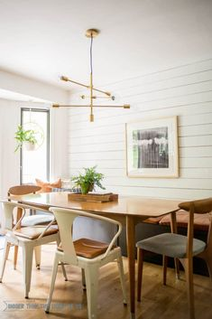 Vintage Furniture Breakfast Room with Built-in Banquette : All the sources and a breakdown of the DIY's including the modern shiplap wall and diy bench seat. Dining Room Walls, Dining Room Lighting, Dining Room Design, Dining Room Bench Seating, Dining Table, Dining Sets, Kitchen Lighting, Dining Area, Living Room