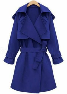 Blue Long Sleeve Belt Loose Trench Coat : Fab for under 45!!!