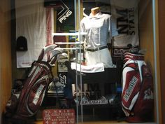 Hallway Display with Items for Sale @ the Golf Shop Golf Pro Shop, Hallway Displays, Golf Bags, Boutique, Red, Blue, Inspiration, Shopping, Biblical Inspiration