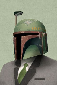 Fashionably Suited Boba Fett. Star Wars Poster Art, Illustration.