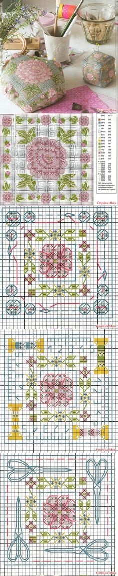 biscornu n° 5 Biscornu Cross Stitch, Cross Stitch Love, Cross Stitch Flowers, Counted Cross Stitch Patterns, Cross Stitch Charts, Cross Stitch Designs, Cross Stitch Embroidery, Stitch Witchery, Christmas Embroidery Patterns