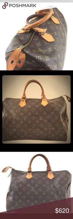 Authentic Louis Vuitton Speedy 35 Monogram handbag A staple to any fashion lover's wardrobe! An Authentic Louis Vuitton Speedy 35 in classic Monogram coated cowhide leather with vachetta leather trim and handles. This bag is used but still has plenty of life left! Vachetta is a beautiful honey patina with some darker points in the middle from everyday use. No rips stains or tears & comes from a pet & smoke free home. Will add shiny LV lock & key for additional price. Comes with a free…