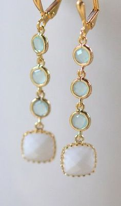 Aqua and White Geometric Jewel Earrings