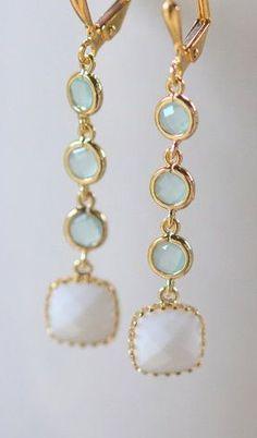 Aqua and White Geometric Jewel Earrings
