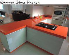 cozinha quartzo stone papaya silestone laranja