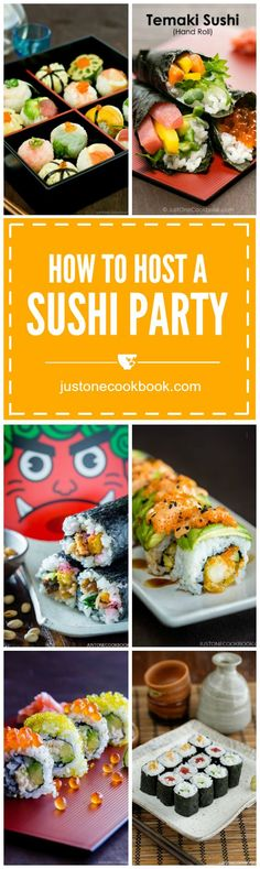 A comprehensive guide to host a sushi party. Learn how to make sushi rice, selection of sushi to serve, equipment, snack & beverage ideas and many other useful tips for a successful sushi feast. Sushi Recipes, Asian Recipes, Cooking Recipes, Healthy Recipes, Ethnic Recipes, Cooking Hacks, Healthy Food, Easy Japanese Recipes, Japanese Food