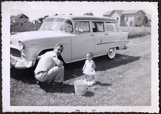 Helping daddy / 55 chevy wagon 1955 Chevy, 1955 Chevrolet, Chevy Nomad, Detroit History, S Car, Life Photo, Station Wagon, Cityscapes, Bel Air