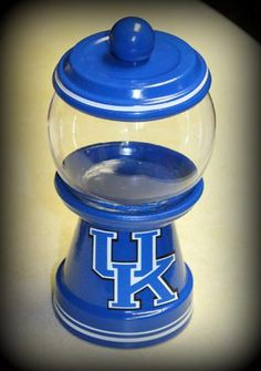 $12.00 plus shipping    University of Kentucky Faux bubble gum Candy jar.    www.facebook.com/CraftomizationByPauline