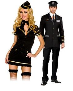 Womens Mile High Club Stewardess Costume - Womens Couples Halloween Costumes