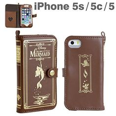 Disney The Little Mermaid Old Book Leather Case Brown for iPhone 5 5S 5C