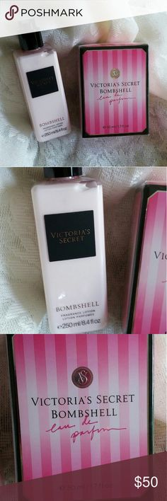 Victoria's Secret Bombshell Perfume + Lotion Victoria's Secret Bombshell Perfume 1.7 fl oz. And perfumed lotion. 8.4 fl oz. Both new never opened. Total $77 value. Victoria's Secret Other