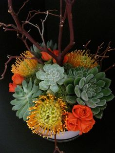 Pincushion protea, spray roses and assorted succulents accented with manzinita branches. Protea Centerpiece, Floral Centerpieces, Wedding Stuff, Wedding Flowers, Wedding Ideas, Spray Roses, Garden Club, Pin Cushions, Branches