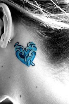 Aquarius Tattoos behind ear
