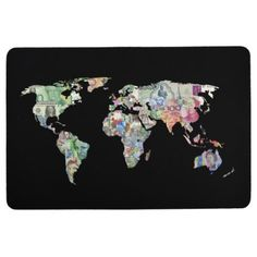 #money world map finance country symbol business cu floor mat - #country gifts style diy gift ideas