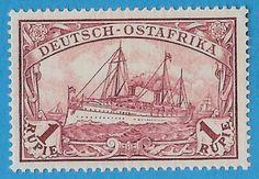 + 1900 German East Africa Kaiser Wilhelms Yacht Hohenzollern #19 A6 1R MNH