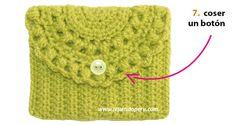Monedero o bolso de una pieza - Tejiendo Perú Crochet Diy, Crochet Doily Patterns, Crochet Gifts, Crochet Doilies, Crochet Handbags, Crochet Purses, Crochet Phone Cover, Macrame Supplies, Crochet One Piece