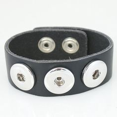 "1 PC Fits 18MM 7.25"" Leather Black Chunk Pop Charm Zinc Alloy Silver Snap Popper Fits Bracelet Interchangeable kb0002 CJ79 Fits a 7.25"" wrist Material: Leather"