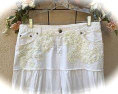 Niveles de Boho romántico Rodeo boda falda del dril de algodón blanco con encaje novia Vintage aplique talla 16