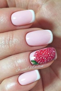 Paired with an elegant French manicure, this big strawberry inspired design is a simple, yet delicious look!  #summernails #nailart