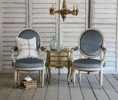 love the cornflower blue French Style Chairs, Dining Chairs, Dining Room, Settee, Townhouse, Shabby, Interiors, Chic, Blue