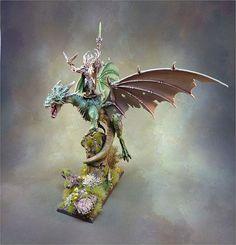 Glade Lord on Forest Dragon Warhammer Warhammer Wood Elves, Warhammer Armies, Warhammer Paint, Warhammer Fantasy, Warhammer Aos, Morgoth, Wood Elf, High Elf, Fantasy Battle