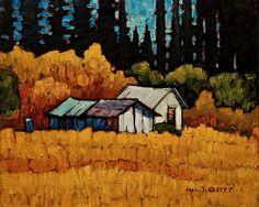 Nicholas Bott: McCoy's Sheds Canadian Art, Colorful Art, Landscape Paintings, Canadian Artists, Painting, Cool Paintings, Landscape Art, Architecture Painting, Unusual Art