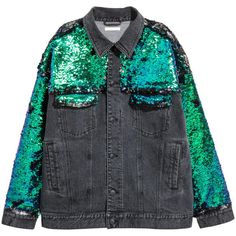 H&M Sequined Denim Jacket $79.90 ($80) ❤ liked on Polyvore featuring outerwear, jackets, jean jacket, button jacket, h&m jackets, sequin jacket and oversized denim jackets