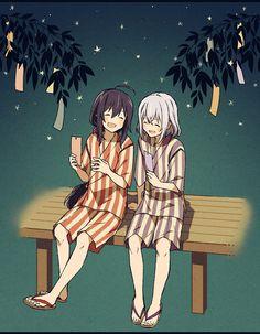 「願い事叶うといいね!」 ◇過ぎてしまいましたが七夕絵を… 2人とも同じ願い事してそうだなって思いました。せーので短冊見せ合ったら願い事同じだったとか笑っちゃいそうですよね。かわいい。浴衣もいい